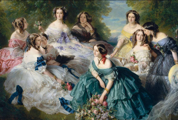 Franz Xaver Winterhalter. The Empress Eugenie with her ladies in waiting ( Empress eugénie de Montijo, the Baroness de Pierre, Princess Essling, viscountess de Lezay-Marnesia, the Marquis de Montebello, the Duchess of Bassano, Baroness Malaret, the Marquis de Las Marris, the Marqu