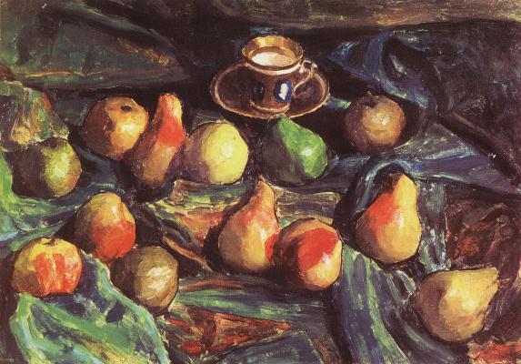 Igor Grabar. Pears on green drape