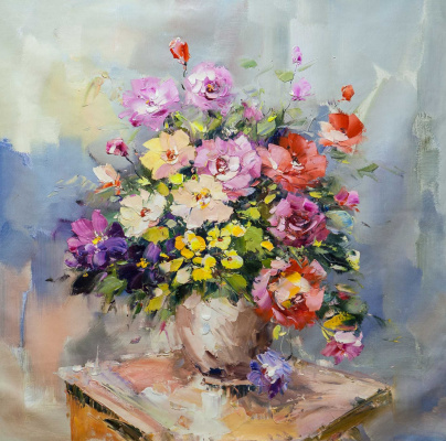 Maria Potapova. Bouquet on a stool