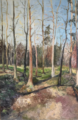 "Painting ""Spring is you too"" (oil on canvas park spring sun shadows early spring bare trees spring park melting snow)"