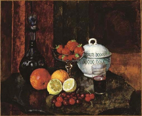 Ilya Ivanovich Mashkov. Still life with strawberries, cherries and a blue decanter