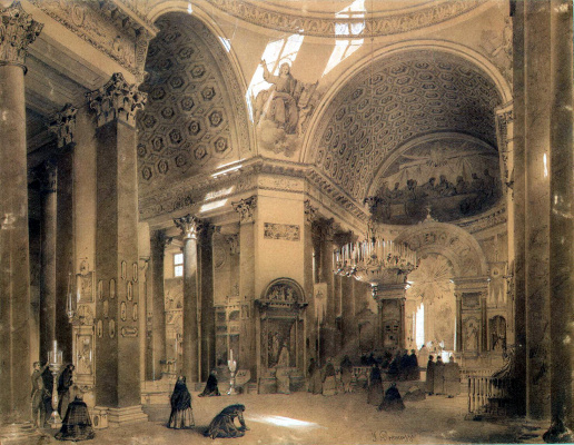 Luigi Premazzi. Interior of the Kazan Cathedral in St. Petersburg