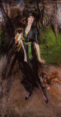 Giovanni Boldini. Portrait of Lina Bilitis with two Pekingese