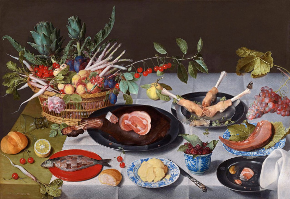 Jakob van Hülsdonk. Still life with artichokes, radishes, asparagus, plums, cherries and peaches in a basket