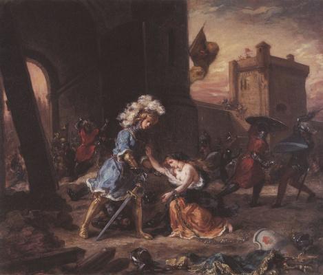 Эжен Делакруа. Амадис де Голль (Амадис Гальский) спасает княгиню Ольгу у замка Галаора