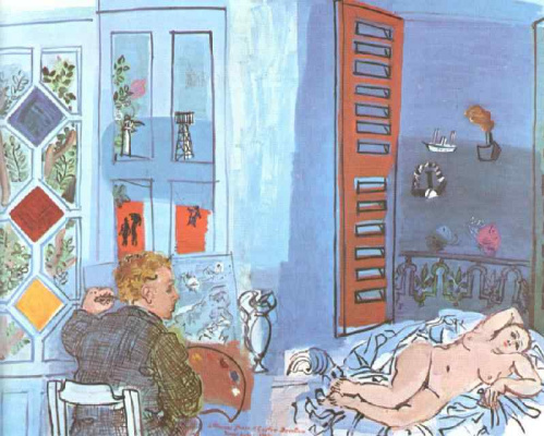 Raoul Dufy. The artist and his model in the Studio
