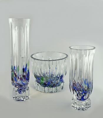 Владимир Тихонович Затынайко. Набор ваз цветного хрусталя.