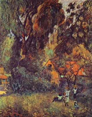 Поль Гоген. Хижины под деревьями