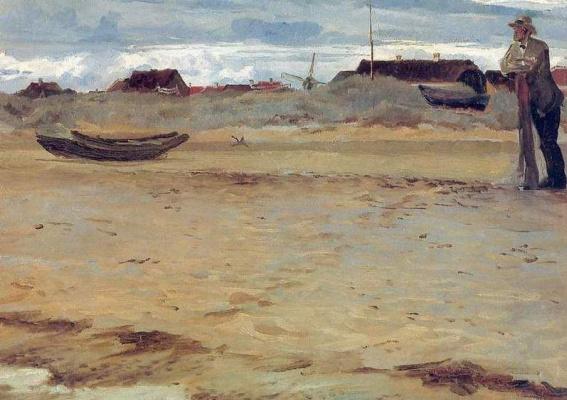 Peder Severin Kreyer. Landscape with a man