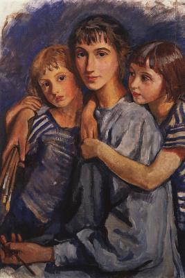 Zinaida Serebryakova. Self-portrait with daughters