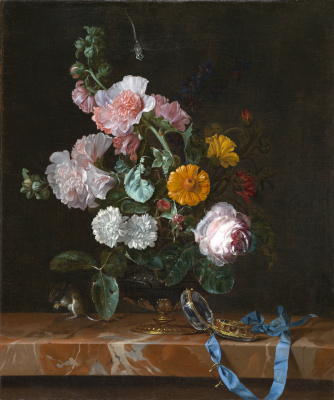 Willem van Aelst. Vase with flowers and clock