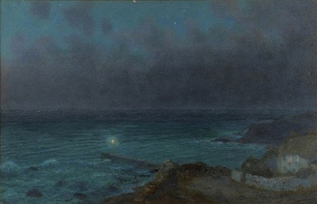 Arthur Hughes. Coast in the moonlight