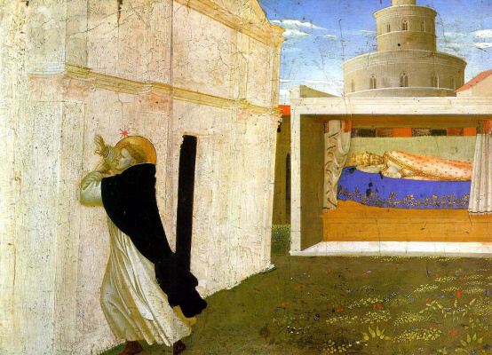 "Fra Beato Angelico. Sleep Innocent III. Preamble of the altar of San Domenico ""Coronation of the Virgin"""