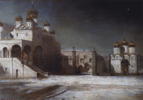 Alexey The Kondratyevich Savrasov. Cathedral square in the Moscow Kremlin by night