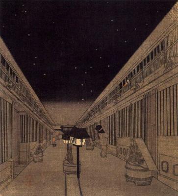 Утагава Кунисада. Ночь в районе Ёсивара, Токио