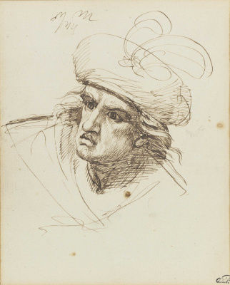 George Romney. Portrait of a man in a hat with a feather (Macbeth). Sketch