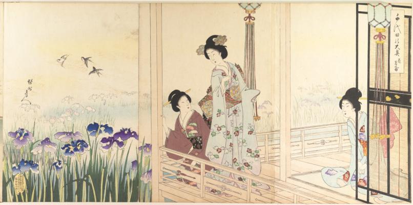 Toyohara Chikanobu. Triptych: Morals and customs of Edo. Tioda Castle. Women's album