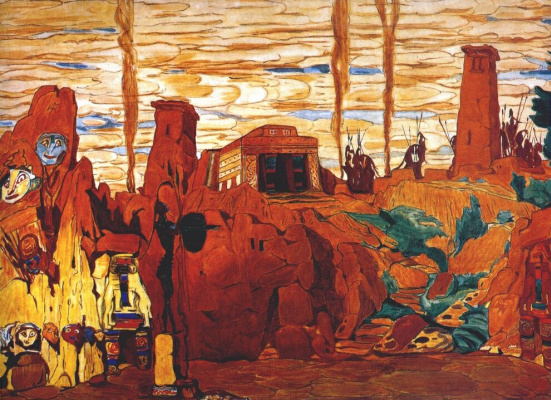 Lev Samoilovich Bakst (Leon Bakst). A sketch of the scenery to the tragedy of Helen in Sparta, акт2