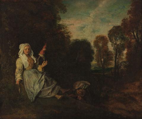 Antoine Watteau. Evening landscape with spinner