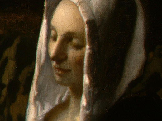 Jan Vermeer. Woman holding scales. Fragment