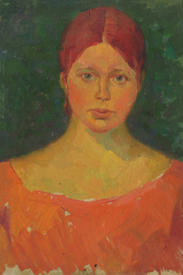 Alexandrovich Rudolf Pavlov. Portrait of a woman in an orange dress.