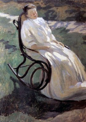 "The lady in the rocking chair. Sketch for the unrealized picture ""Maternity"""