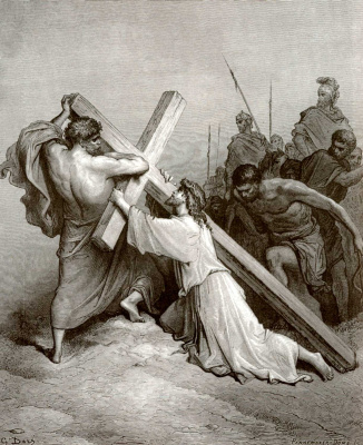 Paul Gustave Dore. Bible Illustration: Carrying the Cross
