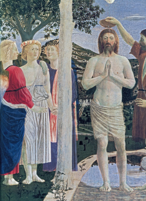 Piero della Francesca. The baptism of Christ (detail)