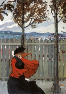 Theophile-Alexander Steinlen. The woman in red in the wind