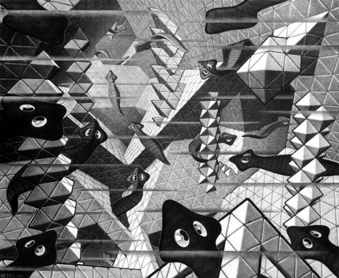 Maurits Cornelis Escher. Flat worms