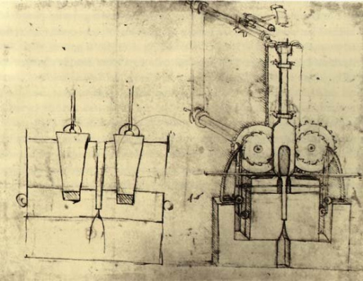 Leonardo da Vinci. Mechanism for irrigation and water distribution