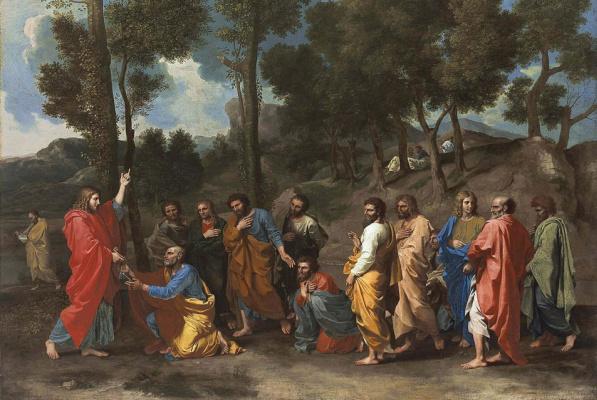 Никола Пуссен. Рукоположение. Вручение ключа Святому Петру