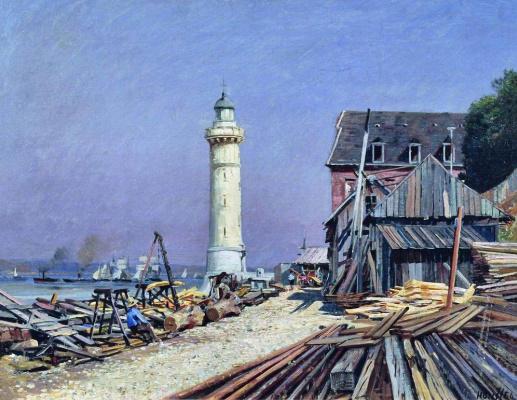 Alexey Petrovich Bogolyubov. Lighthouse. Shipyard in Gunfire.