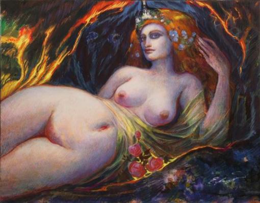 Ernst Fuchs. Reclining Nude