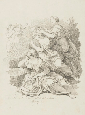 Jean Honore Fragonard. A group of three seated women (Lodovico Carracci)