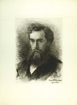 Vasily Vasilyevich Mate. Portrait of a collector P.M. Tretyakov. 1890 etching, dry needle