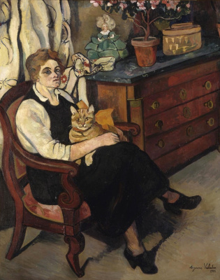 Suzanne Valadon. Portrait of miss Lily Walton with a cat