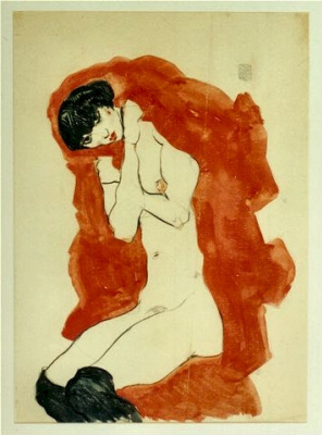 Egon Schiele. Girl with red blanket