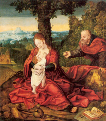 Bernart Van Orley. The Holy family in the garden (the Rest on the flight into Egypt)