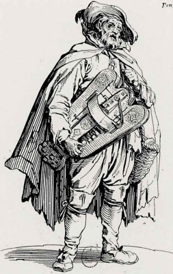 Jacques Kallo. Beggar with a hurdy-gurdy