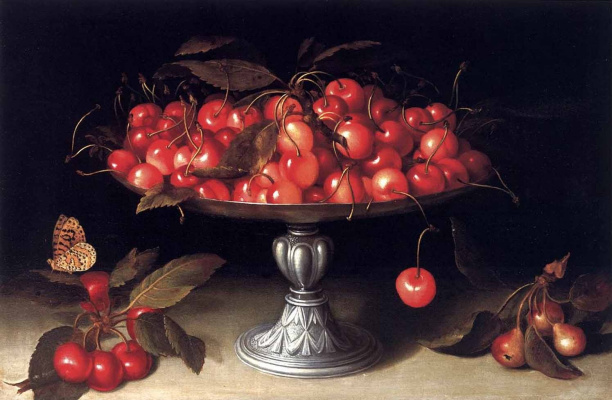Fede Galicia. Cherries in a silver bowl