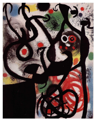 Joan Miro. Woman and bird in the night