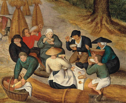Peter Brueghel The Younger. Summer and harvest. Fragment. Peasants at lunch