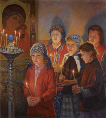 Nikolay Petrovich Bogdanov-Belsky. In the Church
