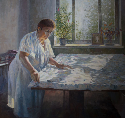 Vasily Daniilovich Ishoev. Portrait of mother. Home routines