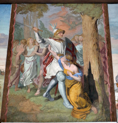 Johann Friedrich Overbeck. The frescoes of the villa Massimo, Tasso Hall: Armida Disarmed Rinaldo