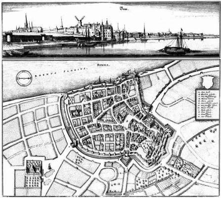 Маттеус Мериан Старший. Бонн, вид берега Рейна и панорамный план