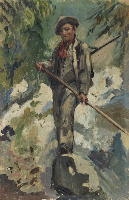 Giovanni Giacometti. A young man on a rock