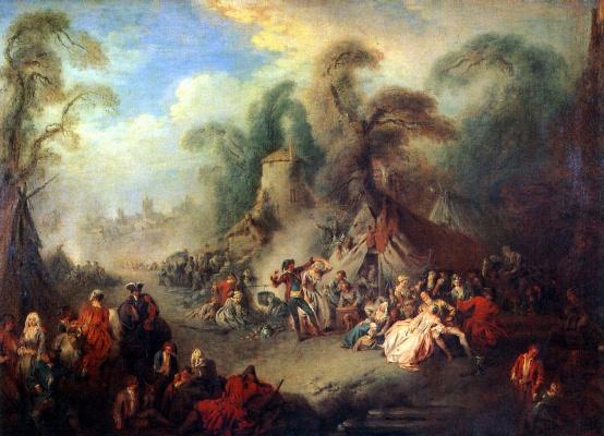 Жан-Батист Патер. Сельский праздник с солдатами