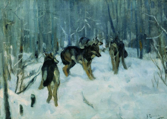 Alexey Stepanovich Stepanov (1858-1923). Wolves in the winter forest. 1900-1910